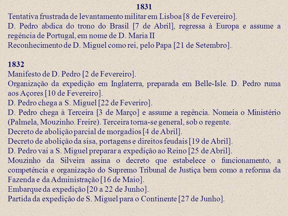 1831 Tentativa frustrada de levantamento militar em Lisboa [8 de Fevereiro].